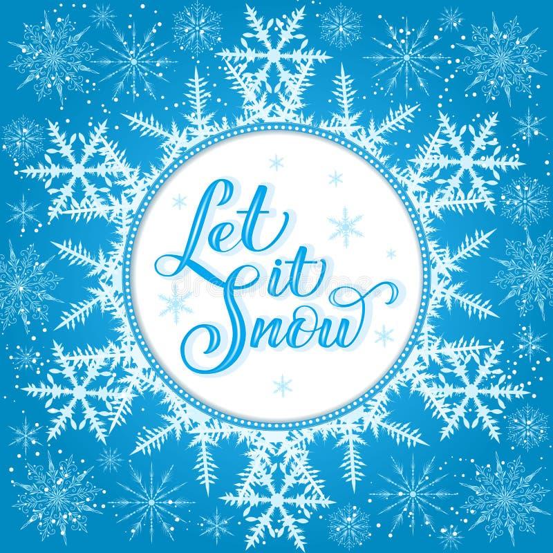 圣诞节书法 手拉的字法让它下雪与大snoflake背景 手写的刷子书法 向量例证