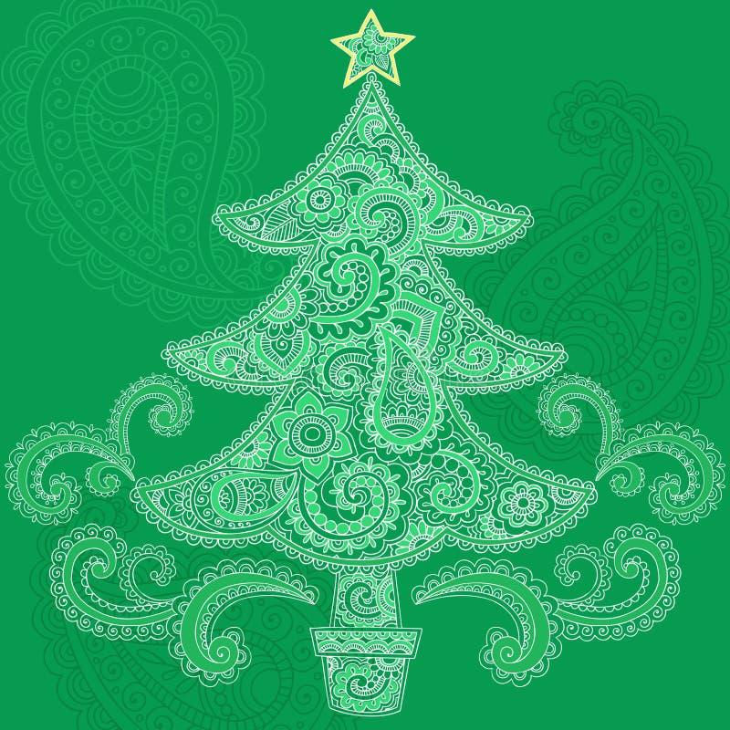 圣诞节乱画无刺指甲花mehndi结构树向量 皇族释放例证