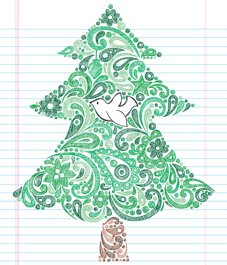 圣诞节乱画被画的现有量概略结构树 向量例证