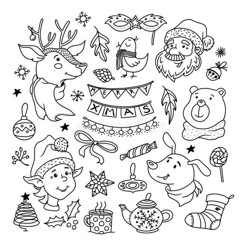 圣诞节乱画设置了与圣诞老人、鹿、狗和矮子 向量例证