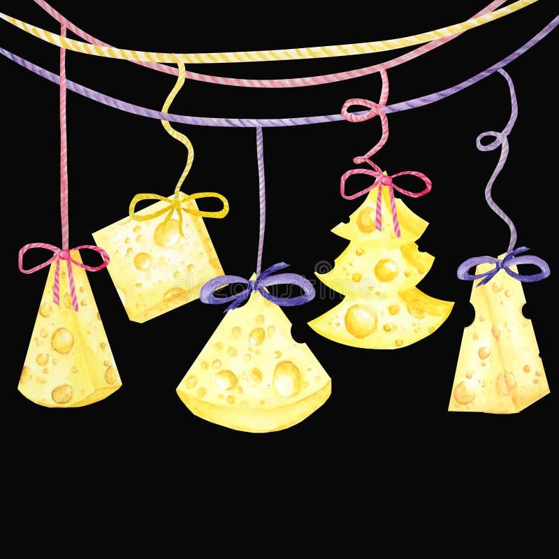 圣诞节乳酪树 新年贺卡2020年 水彩三角黄色乳酪拉制件  老鼠喜爱的食物 库存例证