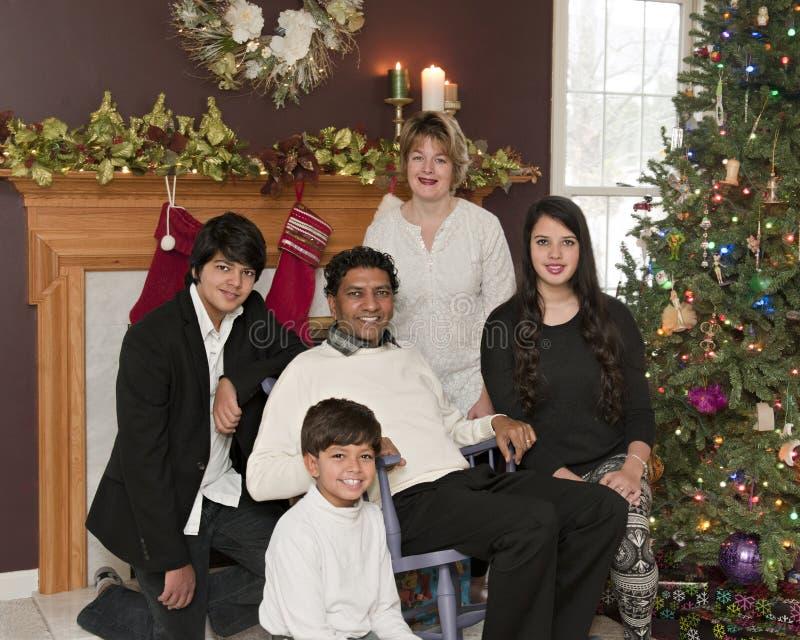 圣诞节五口之家 库存图片