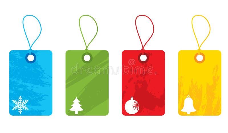 圣诞节五颜六色的标签 皇族释放例证