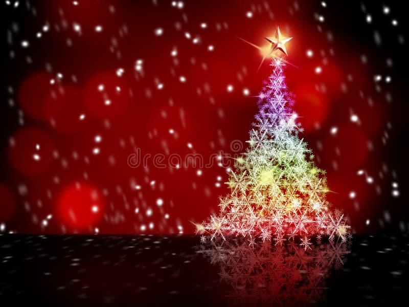 圣诞节五颜六色的雪结构树 库存例证