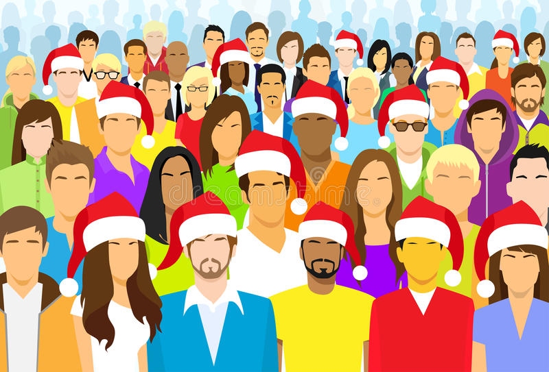 圣诞节人穿戴圣诞老人帽子大人群 库存例证