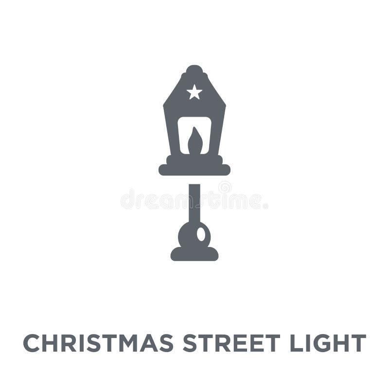 圣诞节从圣诞节汇集的路灯到底象 向量例证