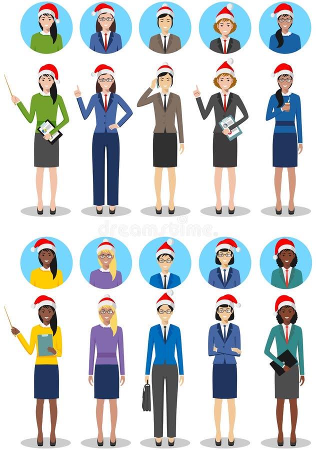 圣诞节企业队 套女商人的详细的例证在圣诞老人帽子在白色的平的样式 皇族释放例证