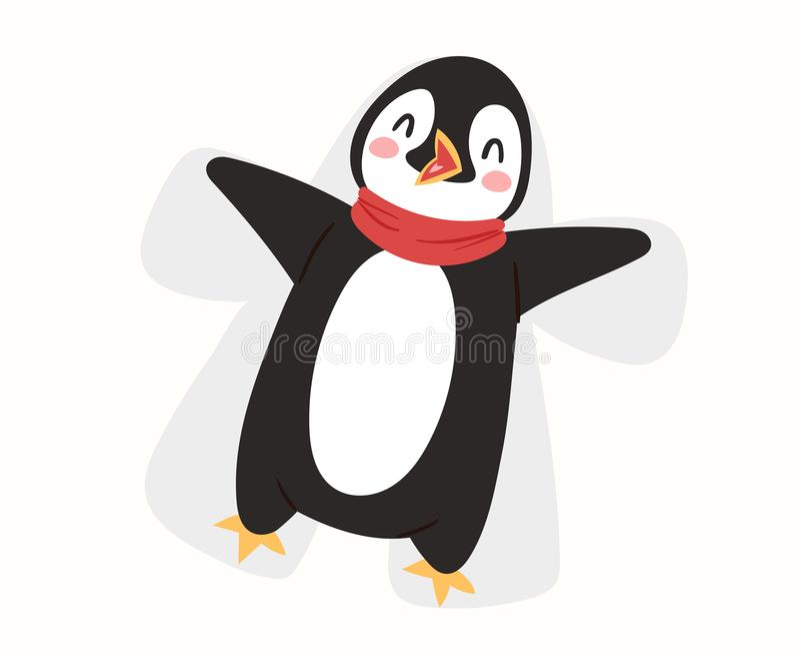 圣诞节企鹅传染媒介字符动画片逗人喜爱的鸟庆祝Xmas playfull愉快的企鹅面孔微笑例证 库存例证