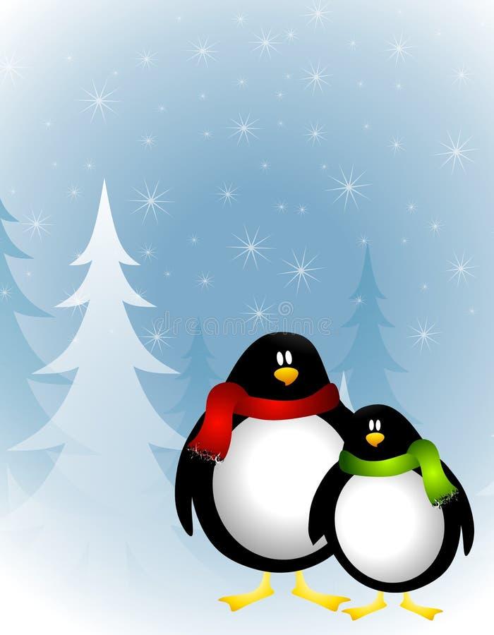 圣诞节企鹅冬天 库存例证