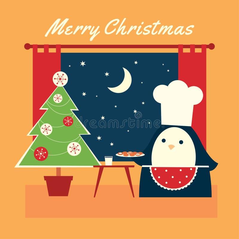 圣诞节企鹅曲奇饼黄色 皇族释放例证
