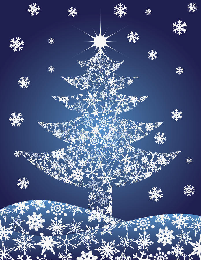 圣诞节例证剪影雪花结构树 向量例证