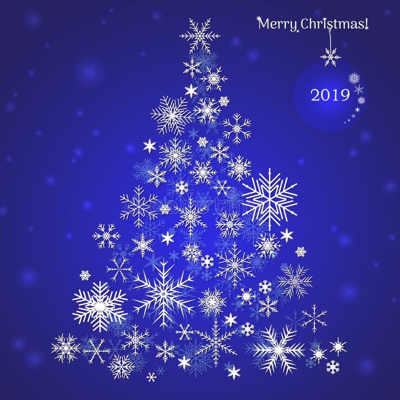 圣诞节例证明信片雪花结构树向量 圣诞卡片年2019年 图库摄影
