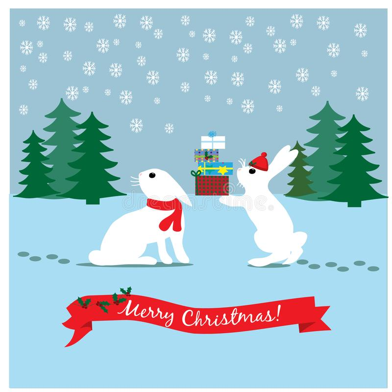 圣诞节例证用滑稽的野兔在冬天森林里 库存例证