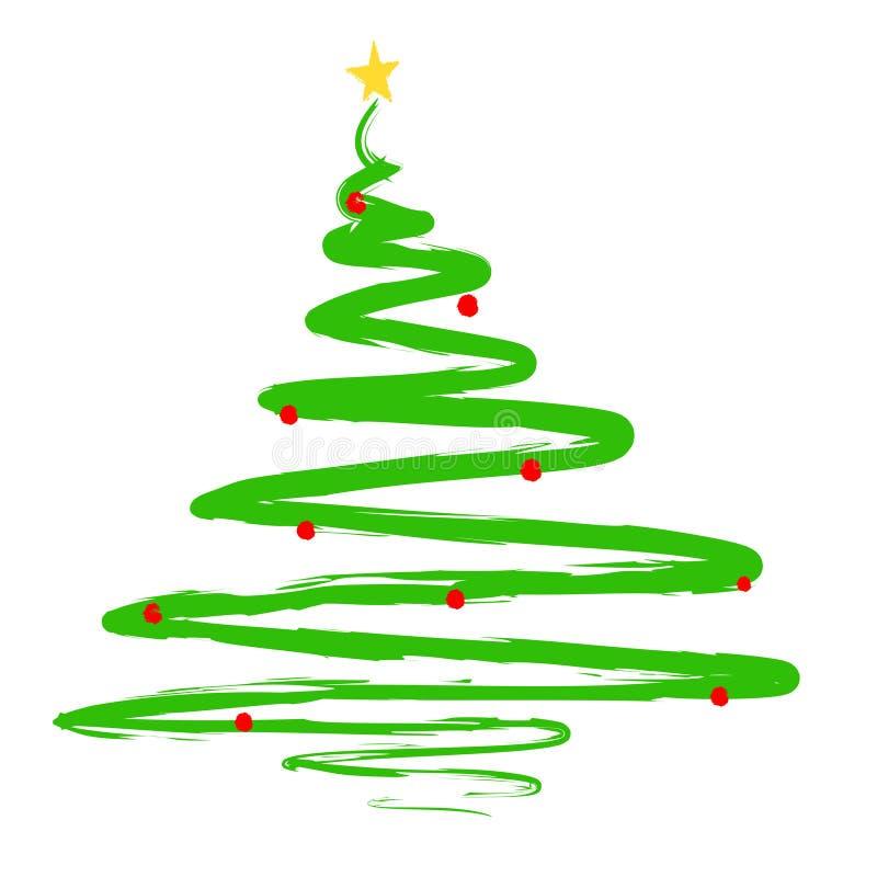 圣诞节例证被绘的结构树 向量例证