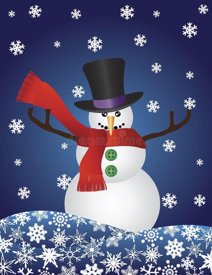 圣诞节例证雪花雪人 向量例证