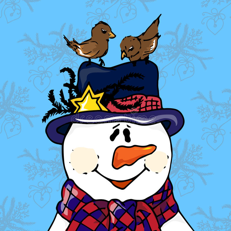 圣诞节例证 与鸟的雪人在帽子 袋子看板卡圣诞节霜klaus ・圣诞老人天空 向量例证