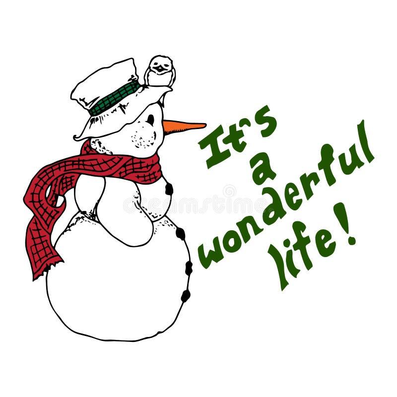 圣诞节例证 与戴帽子的鸟的雪人 它是美妙的生活 袋子看板卡圣诞节霜klaus ・圣诞老人天空 向量例证