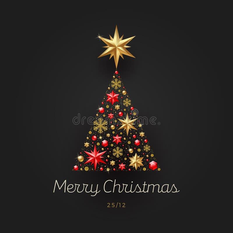 圣诞节例证 由星、红宝石宝石、金黄雪花、小珠和闪烁金子做的抽象圣诞树 皇族释放例证