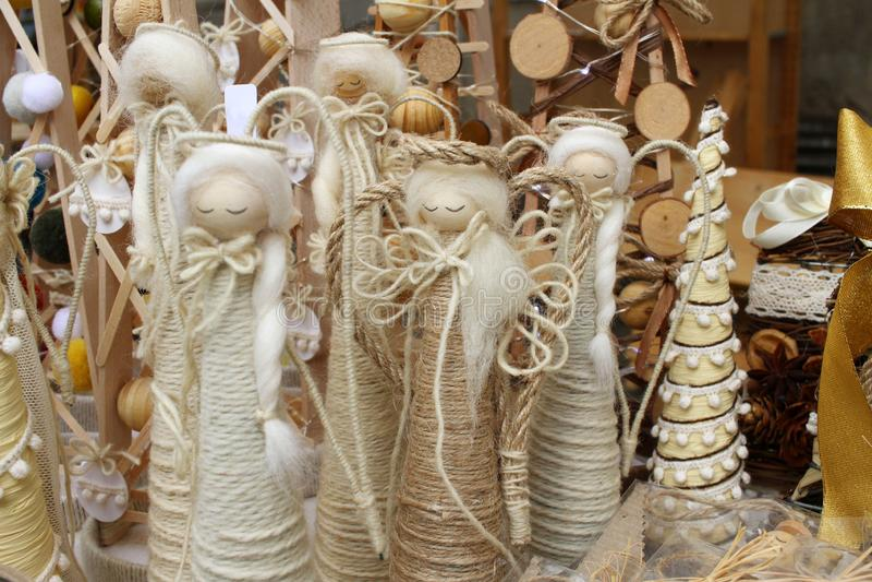圣诞节假日天使玩具 圣诞装饰墙纸 雪天使 图库摄影