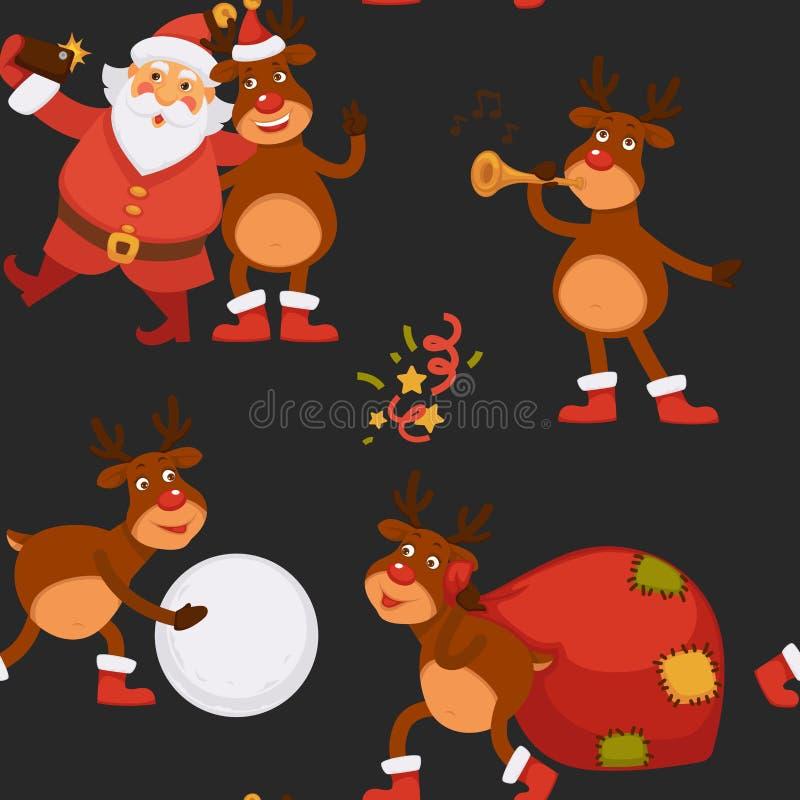 圣诞节假日庆祝,花费与驯鹿的圣诞老人项目时间 皇族释放例证