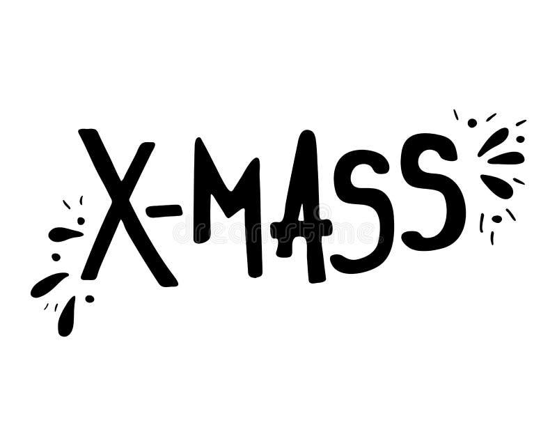 圣诞节假日X-MAS的手拉的字法 向量例证
