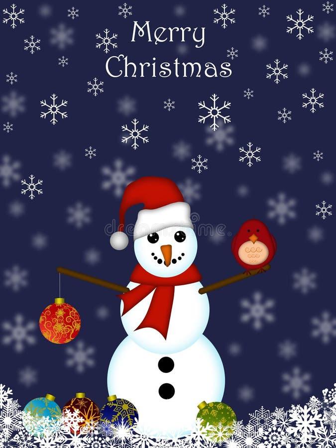 圣诞节停止的装饰品雪人 向量例证