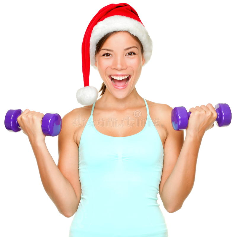 圣诞节健身培训妇女 库存照片