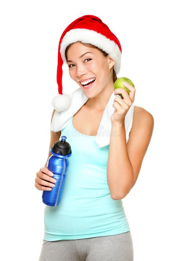 圣诞节健身妇女 免版税库存照片
