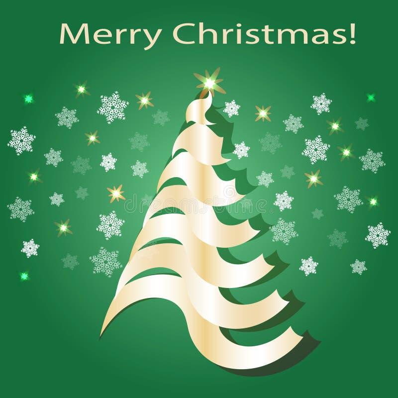 圣诞节光亮的结构树 绿色和金子颜色 库存例证