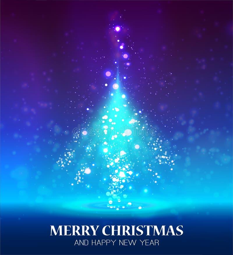 圣诞节光亮的结构树 库存例证