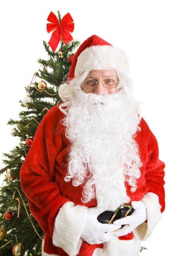 圣诞节克劳斯・圣诞老人结构树 免版税图库摄影