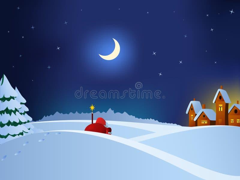 圣诞节克劳斯对城镇的以后的圣诞老&# 皇族释放例证
