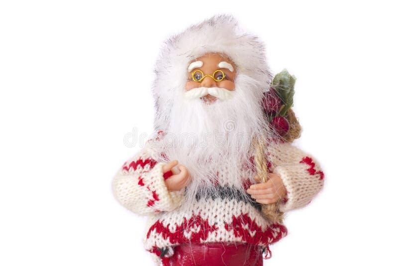 圣诞节克劳斯礼品圣诞老人 背景查出的白色 免版税库存照片