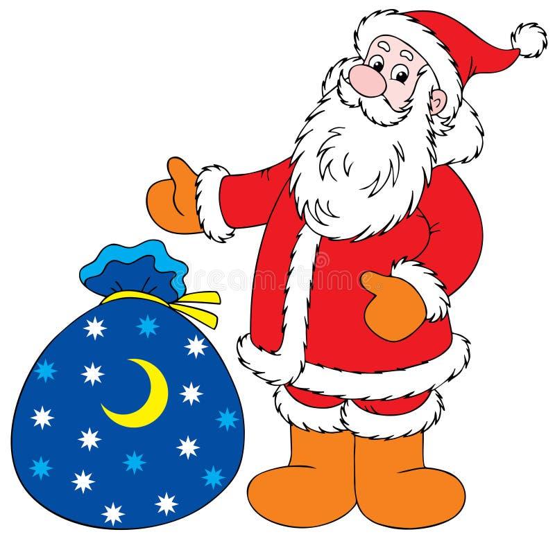 圣诞节克劳斯礼品圣诞老人 向量例证