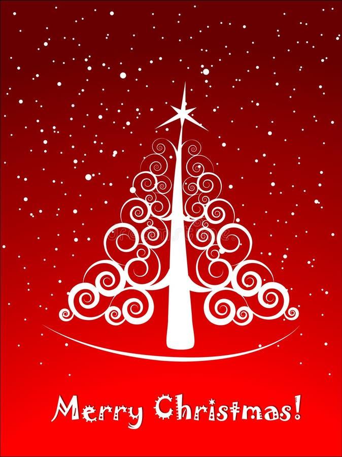 圣诞节典雅的明信片结构树 库存例证