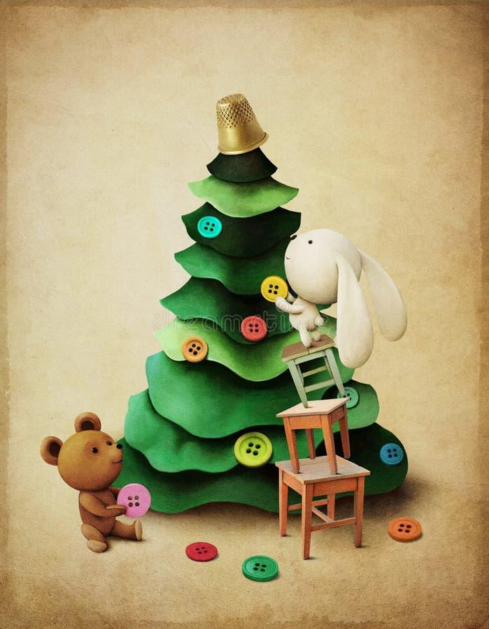 圣诞节冒险兔宝宝和熊 向量例证