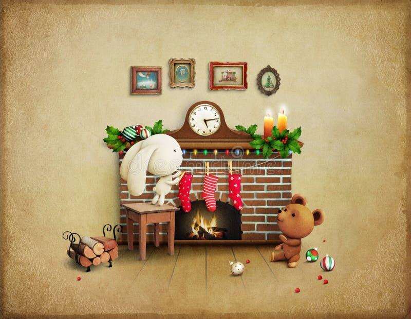 圣诞节冒险兔宝宝和熊 皇族释放例证