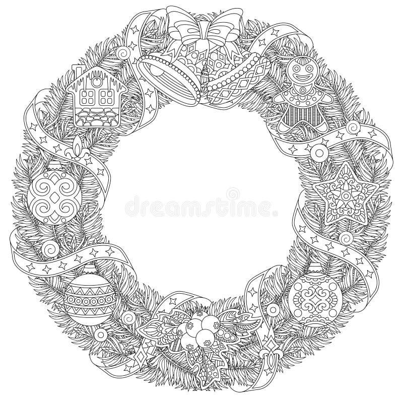 圣诞节冬天与减速火箭的装饰品的门花圈 皇族释放例证