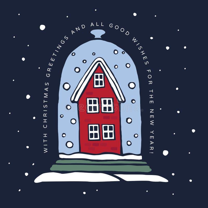 圣诞节冬天例证 老红色房子重新了填没雪在蓝色背景的玻璃圆顶下 库存例证