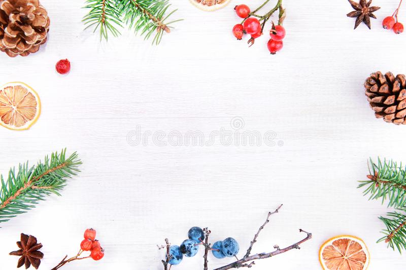 圣诞节冬天或新年快乐装饰背景 Natur 免版税库存图片