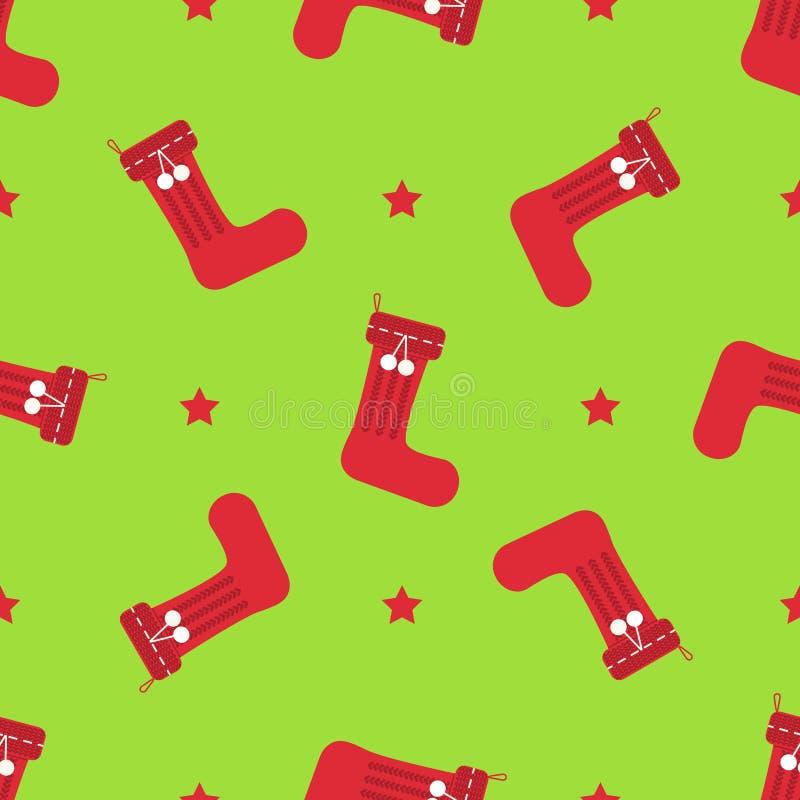 圣诞节冬天无缝的样式 库存例证