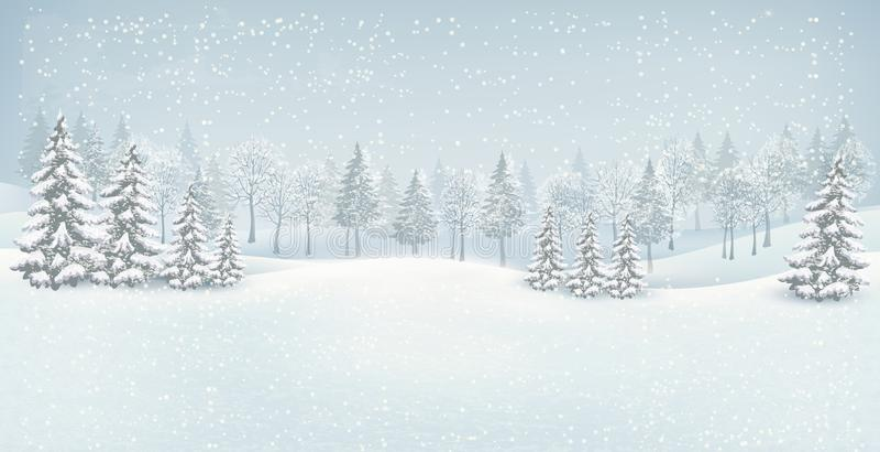 圣诞节冬天风景背景。 皇族释放例证