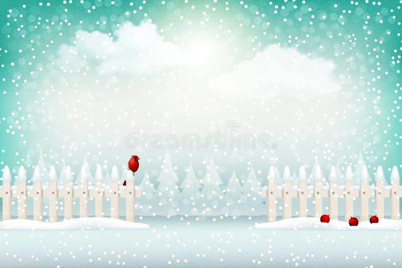 圣诞节冬天风景背景 向量例证