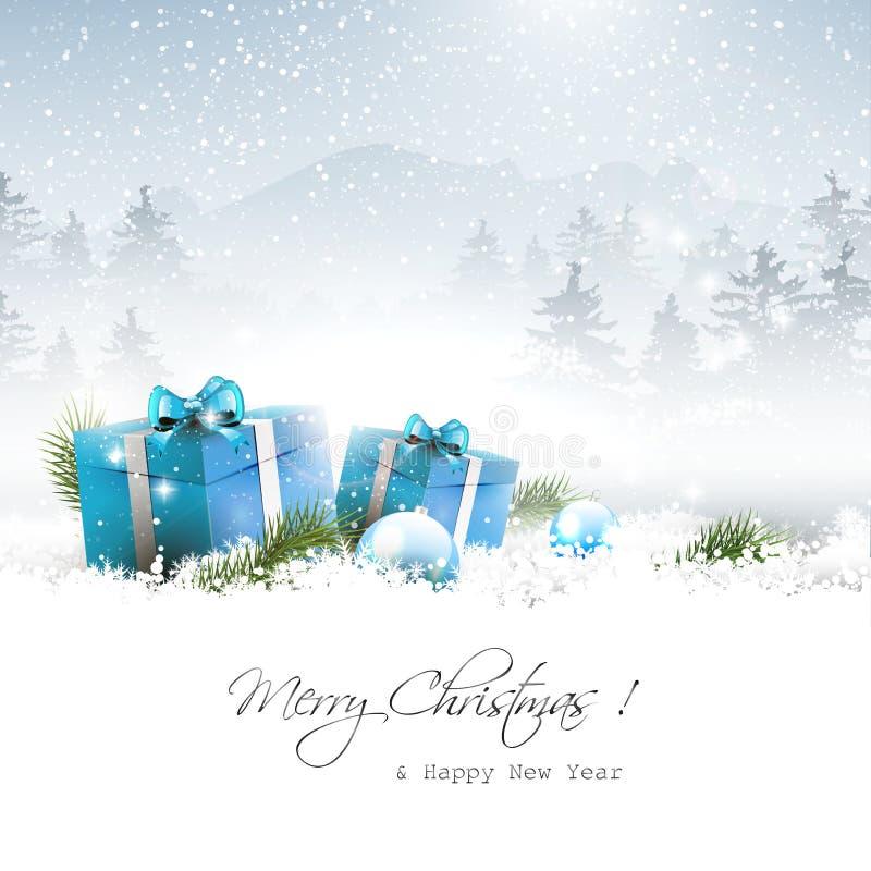 圣诞节冬天风景 向量例证