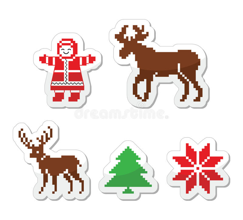 圣诞节冬天pixelated被设置的象 库存例证