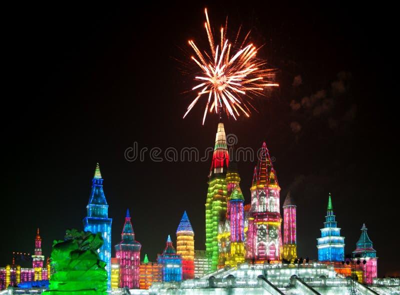 圣诞节冰城市在哈尔滨 库存图片