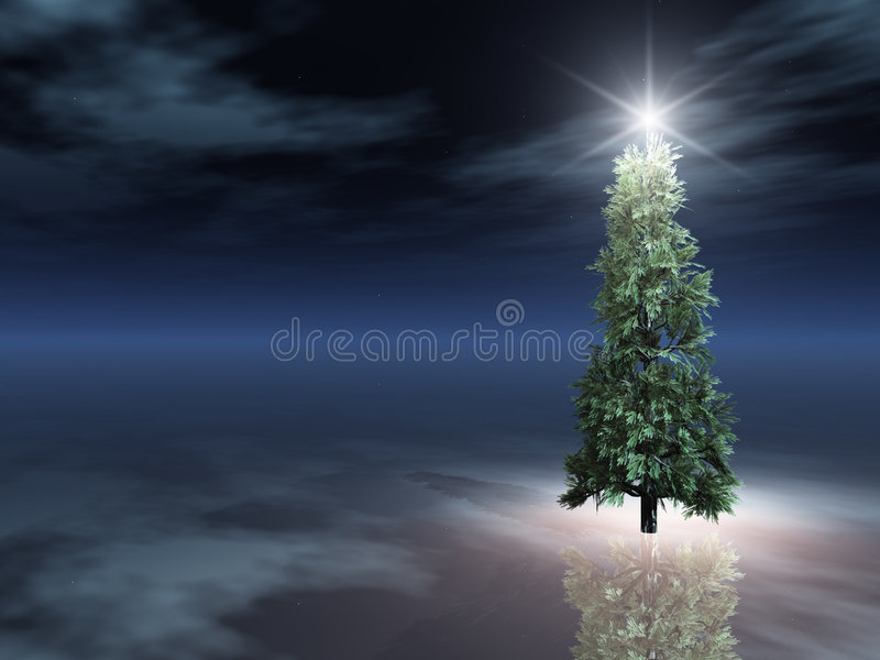 圣诞节冰晚上结构树 皇族释放例证