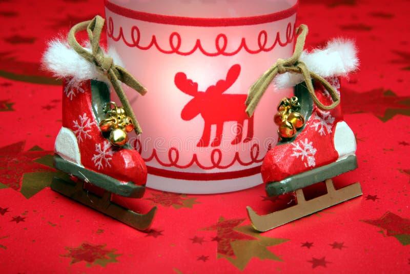 圣诞节冰鞋 库存图片