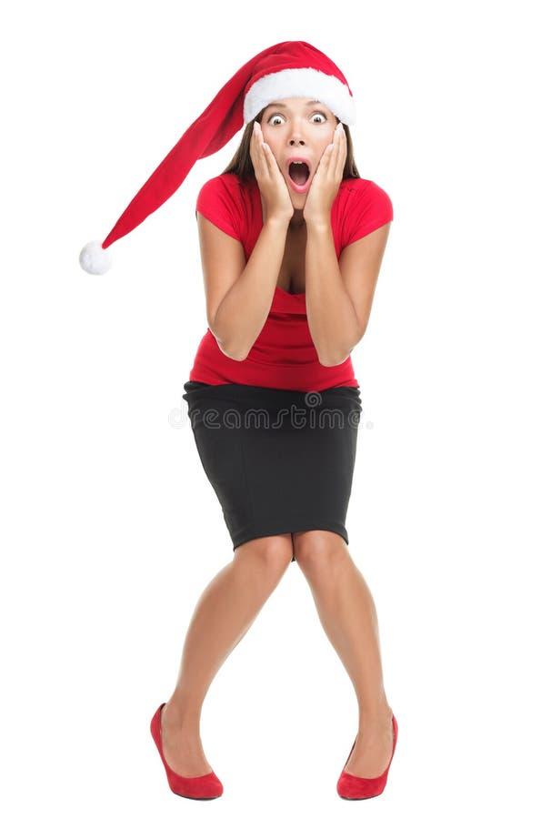圣诞节冲击了妇女 免版税库存照片