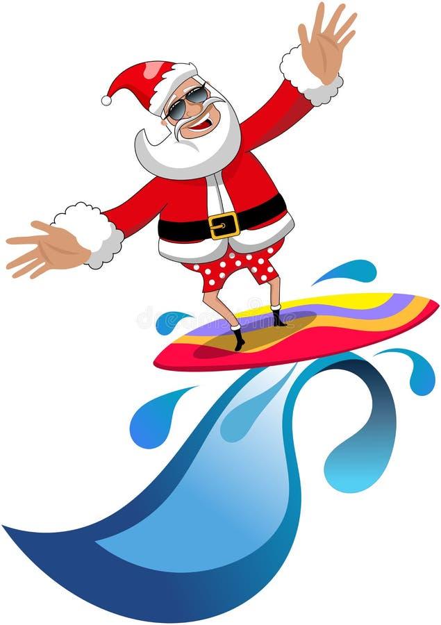 圣诞节冲浪热带海的圣诞老人被隔绝 向量例证